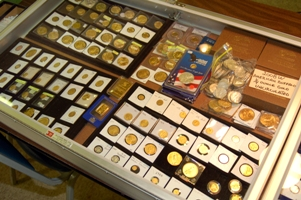 Dealer show case at a BNA Coin Show